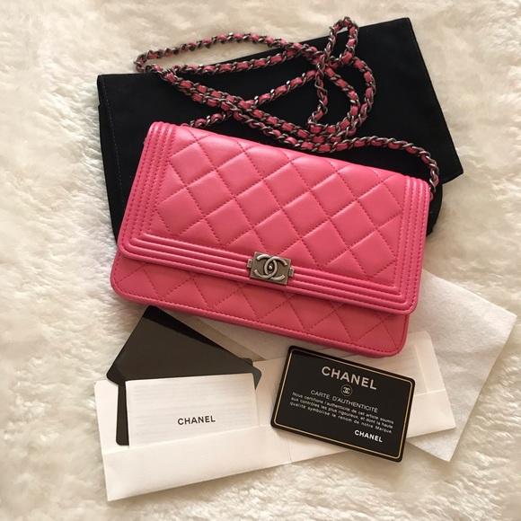 8a22bca95102ce CHANEL Handbags - Chanel lambskin boy wallet on chain woc
